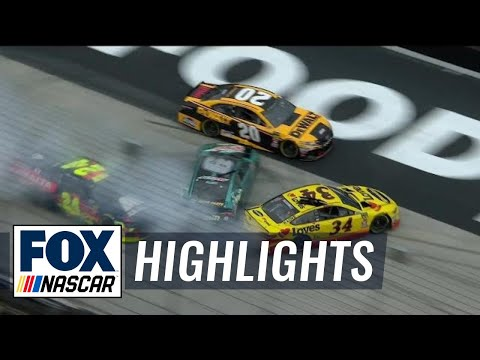 Michael McDowell triggers pileup with Chase Elliott |  2018 BRISTOL MOTOR SPEEDWAY | FOX NASCAR