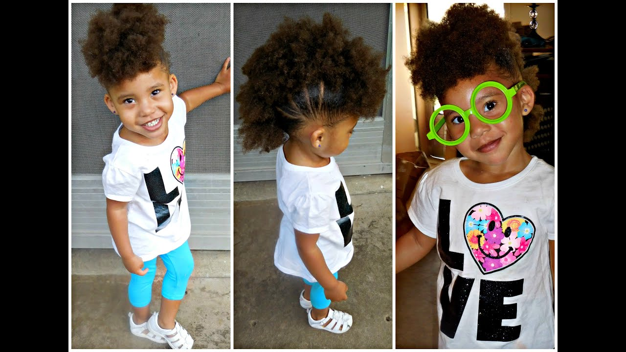 puffs into a mohawk toddlers/little girls hairstyles - youtube