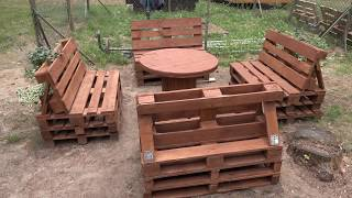 Meble z palet odchylone oparcie Furniture made of pallets Reclining back