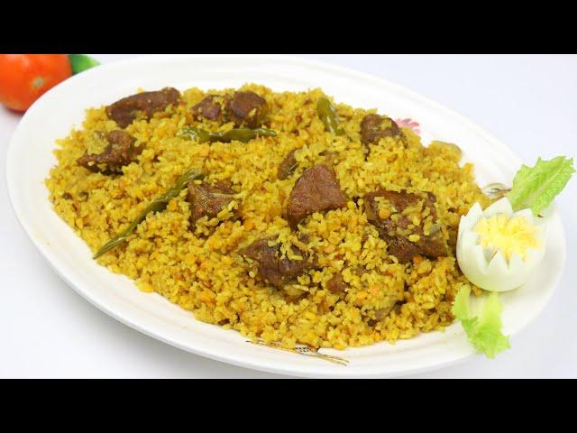 মাংস দিয়ে ভুনা খিচুড়ি | Beef Bhuna Khichuri Recipe | Gorur Mangso Diye Khichuri | Bhuna Khichuri