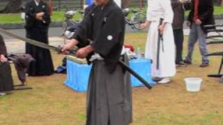 Katana edge cutting competition in Shibata, Japan , video