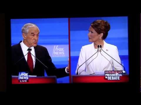 Ron Paul DESTROYS Michele Bachmann on Iran, booed for attacking Paul on security Fox News Debate HD