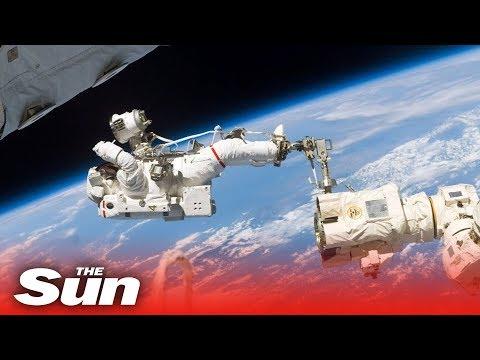 ISS Spacewalk LIVE   Nasa astronauts replace solar array batteries