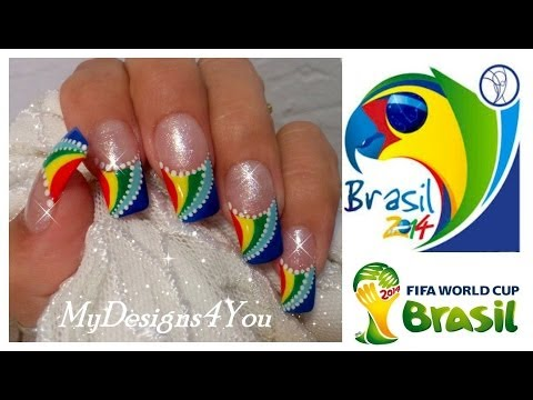 FIFA World Cup Nail Art | Summer 2014 Brazil Nails | Multicoloured French ♥
