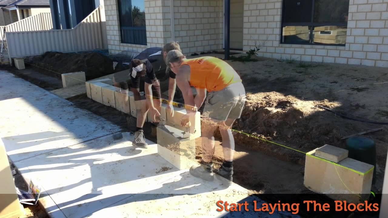 how to lay limestone blocks - youtube