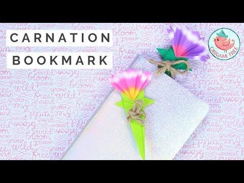 Easy Origami Flower Bookmark - Carnation Paper Bookmark Tutorial