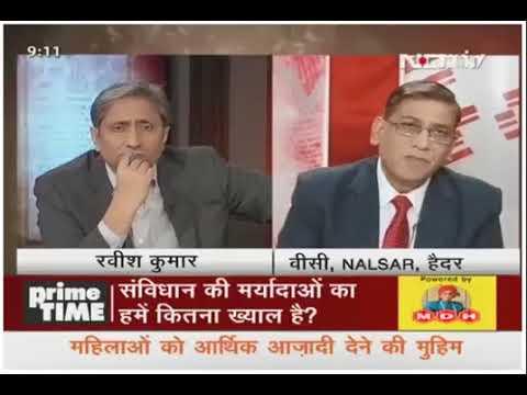 NDTV Prime Time   Ravish kumar   Prof.Faizan Mustafa   Indian Constitution & Democracy
