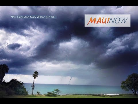Twin Waterspouts Offshore of Maui, Hawaii