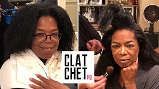 Oprah getting ready for the Golden Globes