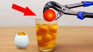 Experiments: Glowing 1000 degree Metal Ball vs Eggs
