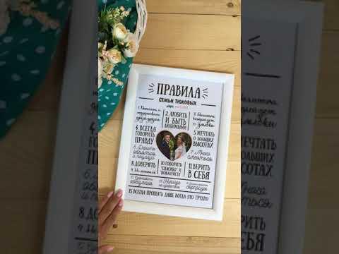 Семейные правила постер - Подарок на годовщину, свадьбу, новоселье