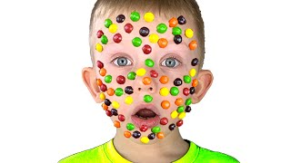 Skittles face Pretend play  - Martin and Monica