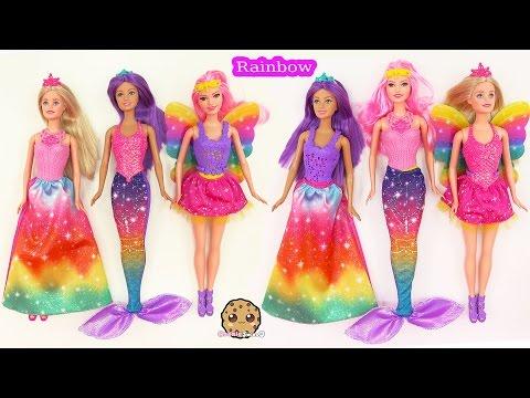 Barbie RAINBOW Easy Dress Up Dolls Mermaid Fairy Princess Fairytale Cookieswirlc Toy Video