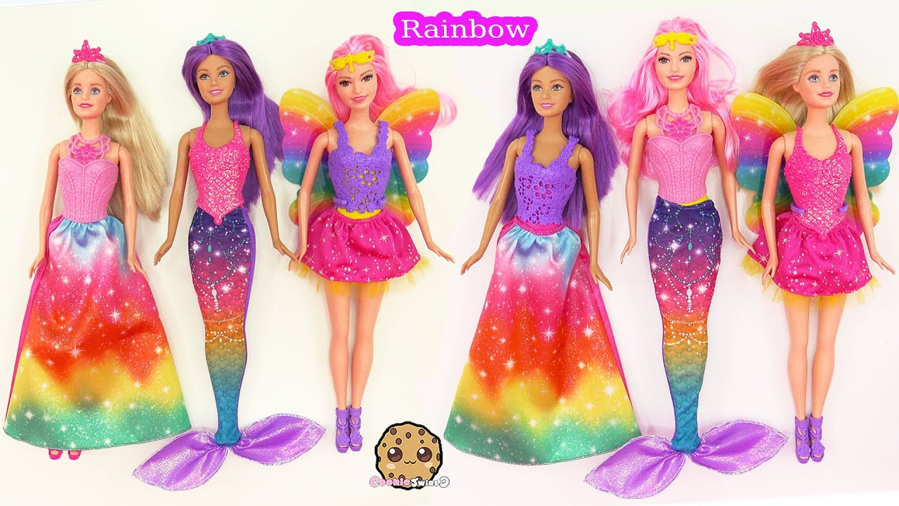 Barbie Rainbow Easy Dress Up Dolls Mermaid Fairy Princess
