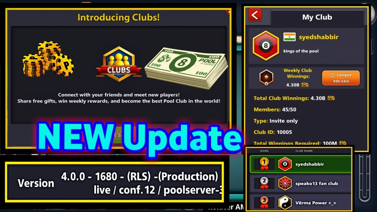 Cash Pool C'est Quoi New Update In 8 Ball Pool Introducing New Club Feature