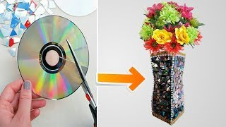 DIY Flower vase with old CD and Cardboard tutorial    TB craft