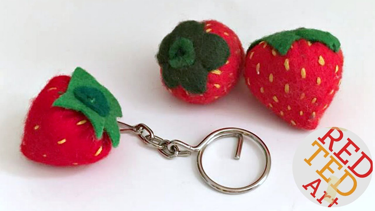 How to sew Felt Strawberry Keychains - Back to School - Easy Sewing  Projects - YouTube 058eed390