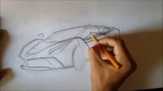 Как нарисовать машину(LaFerrari).How to draw a car(LaFerrari)(Мы рисуем Ferrari LaFerrari,используя карандаши HB и 4B, а так же маркер., 2014-08-31T01:21:31.000Z)