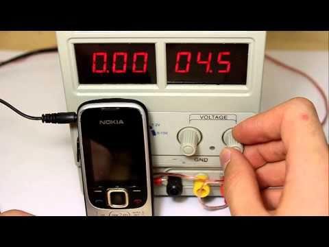Nokia 2330. Тест на изменение напряжения зарядки