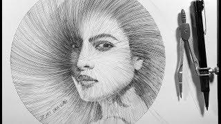 Drawing Portrait of PRIYANKA CHOPRA with compass - DP Truong