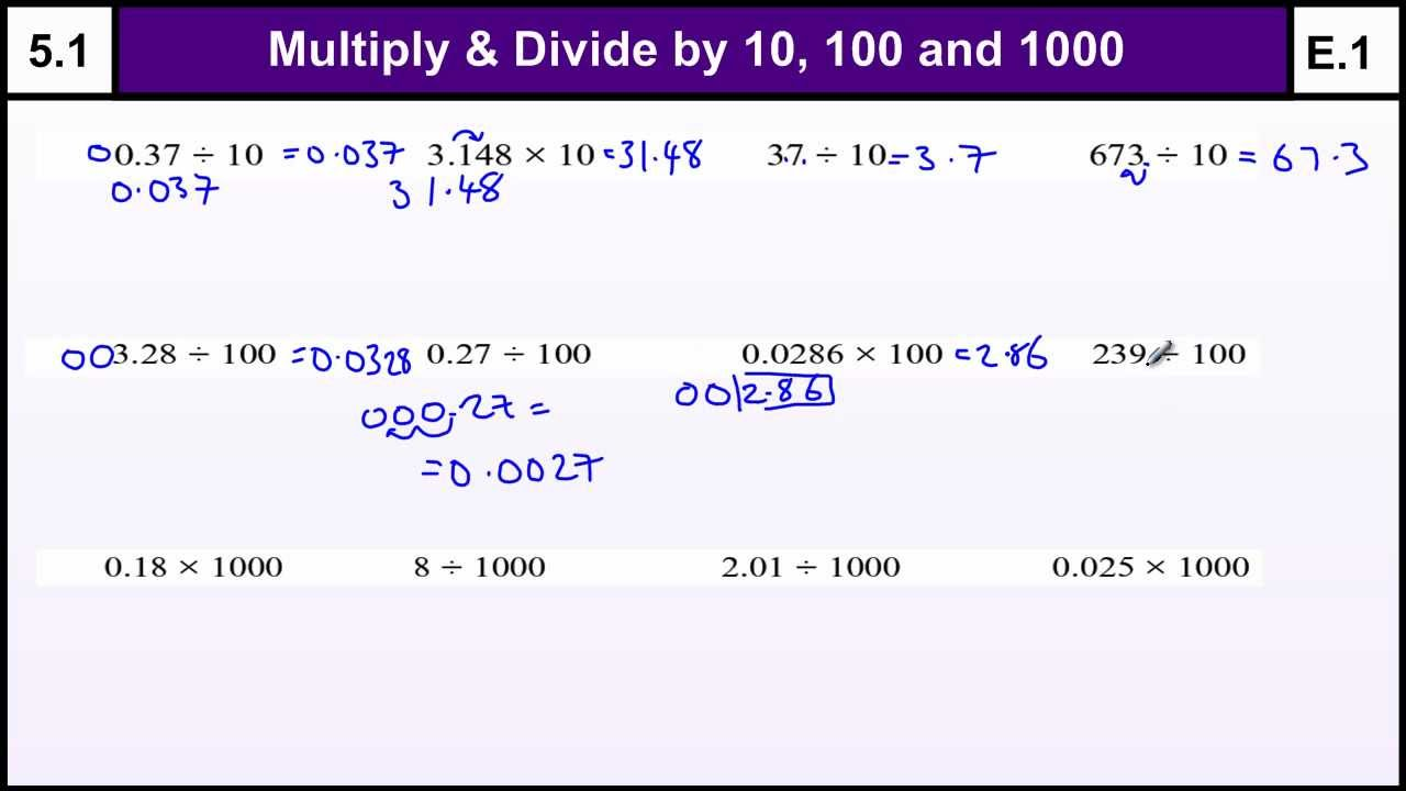 5.1 Multiply and Divide by 10, 100 & 1000 - Basic Maths Core Skills ...