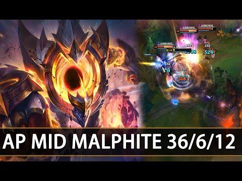 AP MID Malphite Is Broken! 36/6/12 KDA (League Of Legends)
