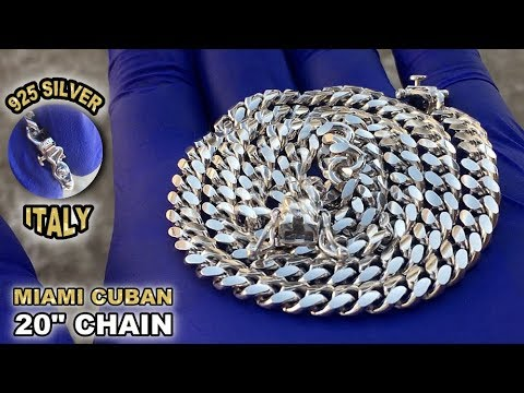 """Solid 925 Sterling Silver Miami Cuban Link Chain Necklace 20"""" Inch"""