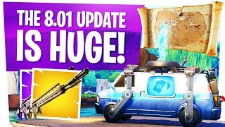 The NEW Fortnite 8.01 UPDATE is HUGE... - Season 8 Respawn Bus, X Marks the Spot & Legendary Rifle