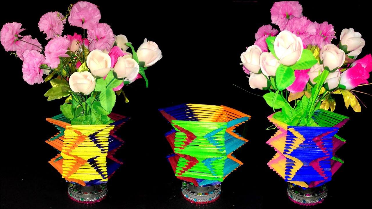 ice cream sticks crafts, ice cream sticks chair, ice cream sticks lamps, on ice cream stick flower vase videos