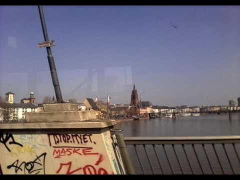 Frankfurt from the inside of a bus.