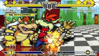 Super Mario and Bowser vs Peach and Giga Bowser MUGEN Battle!!!