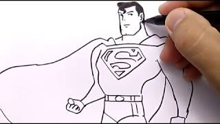 VERY EASY ! how to draw SUPERMAN FOR KIDS