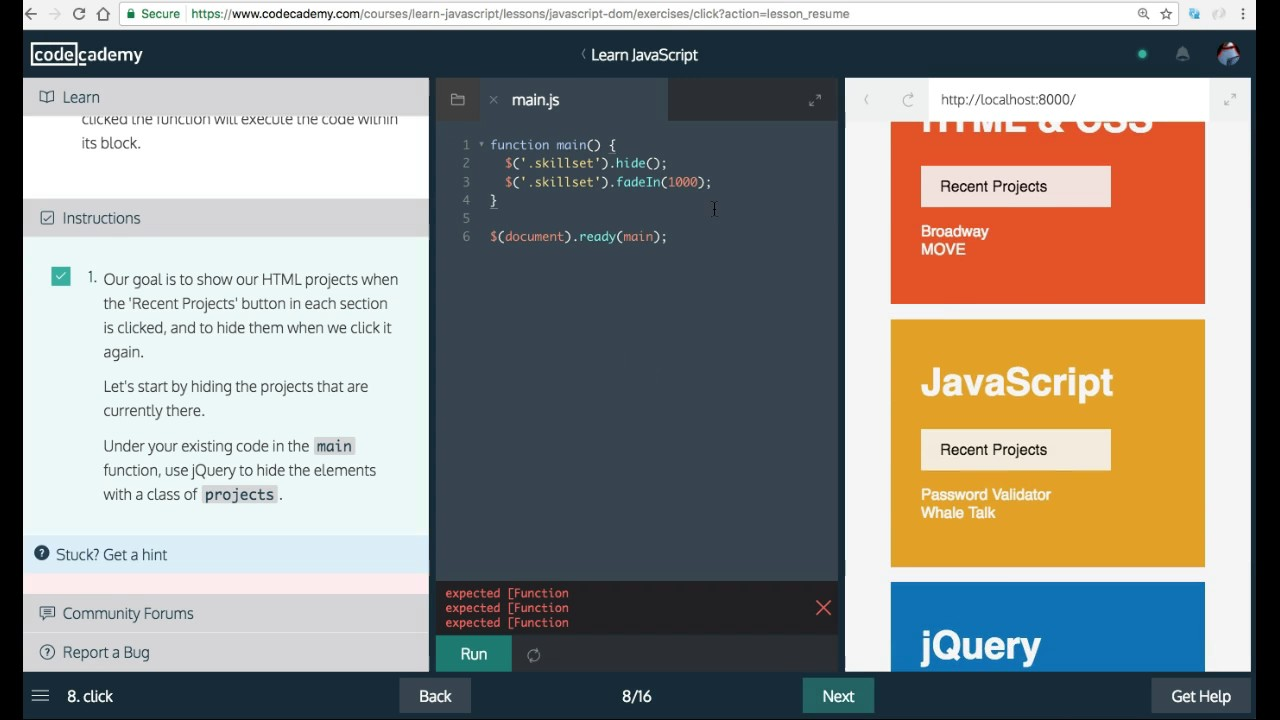 Learn Javascript, click, Javascript and the DOM, Codecademy