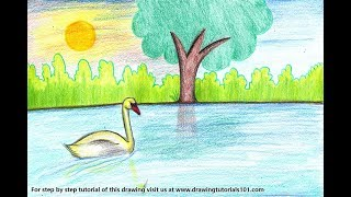 lake drawing draw swan easy step drawings paintingvalley