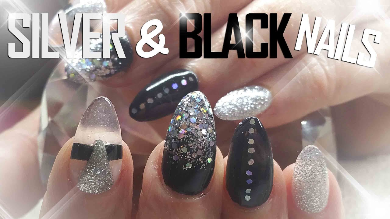 Black and silver nails nail art party nails youtube prinsesfo Image collections