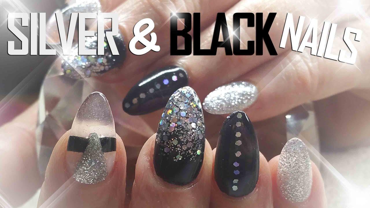 Black and Silver Nails   Nail Art   party nails - YouTube