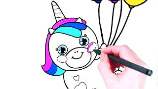 Rainbow unicorn flies on balloons.  Funny drawings for children | Like art