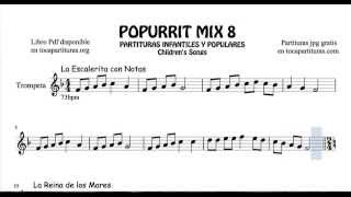8 de 30 Popurrí Mix Partituras Populares Infantiles de Trompeta La Escarelita Aprendiz de Pastor