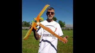 Huge boomerang flight and winner of the Captain America boomerang
