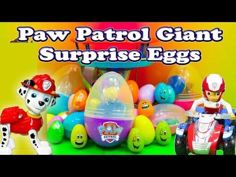 PAW PATROL Nickelodeon Huge Surprise Eggs Funny Paw Patrol Surprise Egg Toys Video