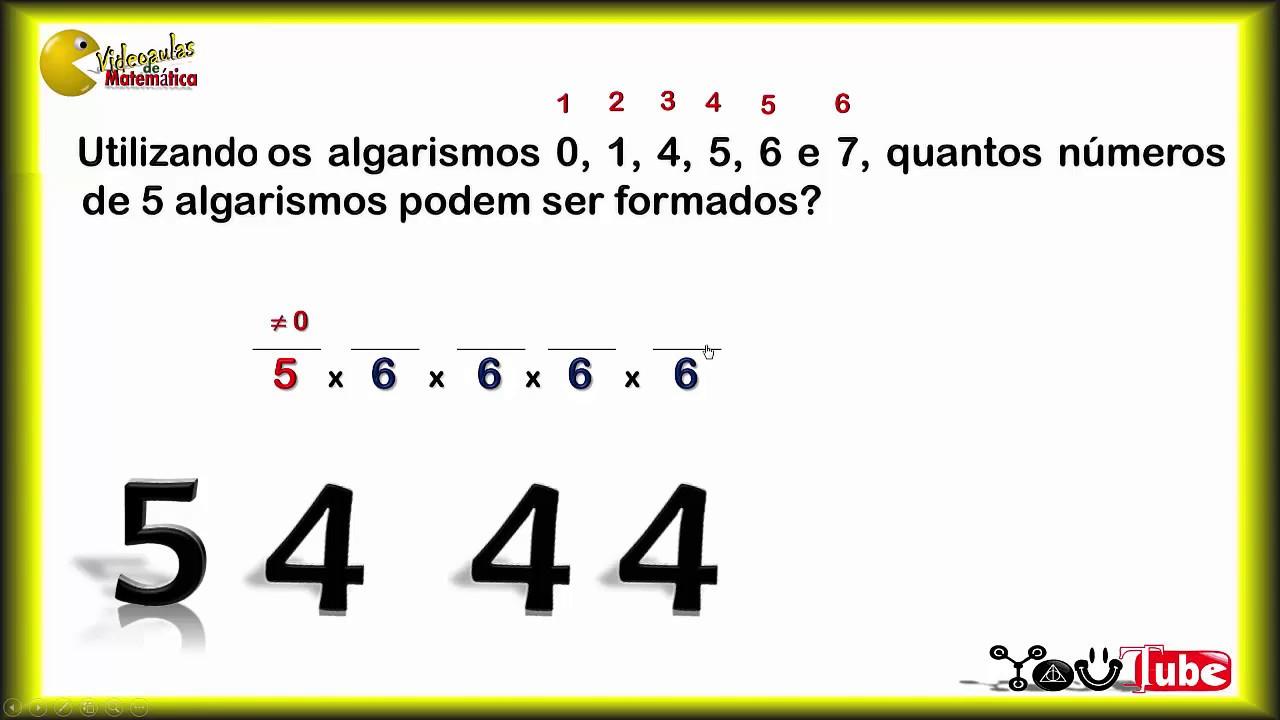 ANÁLISE COMBINATÓRIA - Resolução de Exercícios - Contagem de Números de 5  Algarismos [Aula 2 de 2] - YouTube