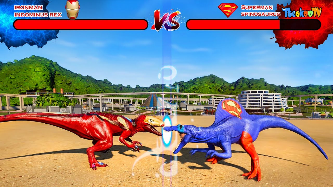 Download Jurassic World Evolution🌍 ( Super Heroes Battle ) Indominus Rex,Giganotosaurus,Dimetrodon Fight