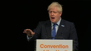 Heckler interrupts Boris Johnson's speech and tells him to get back to Parliament