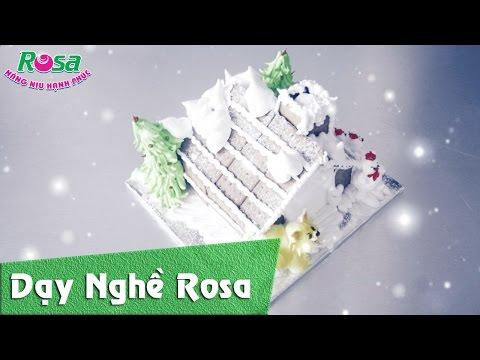 Hướng dẫn làm bánh kem giáng sinh 2016 mẫu Ngôi nhà tuyết