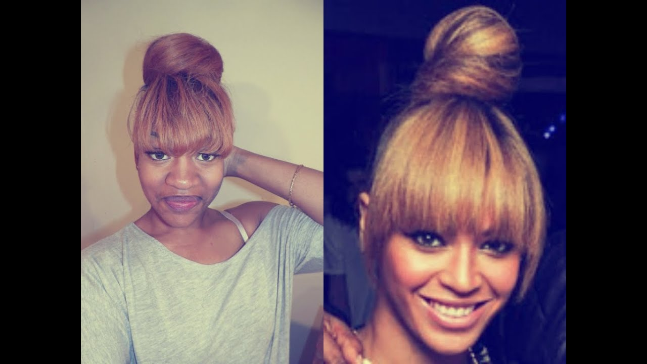 beyonce/evelyn lozada inspired bun w| bangs - youtube