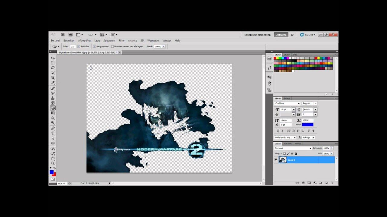 PhotoShop Cs5  AchterGrond Transparant Maken  YouTube