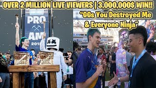 NINJA DESTROYS MYTH & COURAGE TO WIN 3,000,000$ IN FORTNITE TOURNAMENT WITH 2 MILLION LIVE VIEWERS!