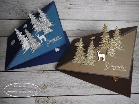 kleine pop up weihnachtskarten mit dreieck baum und reh. Black Bedroom Furniture Sets. Home Design Ideas