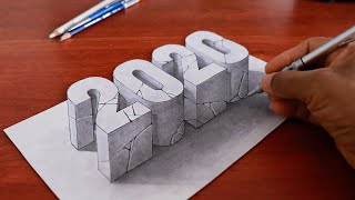 How to Draw New Year 2020 in 3D and Merry Christmas to everyone