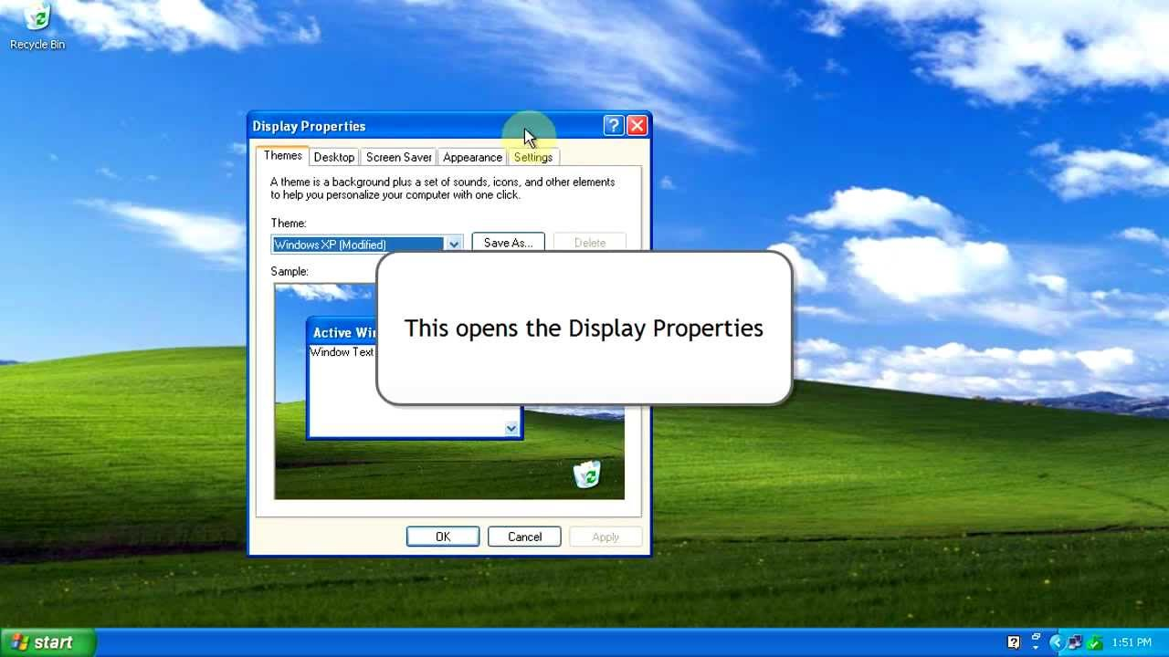 windows xp: how to change desktop background wallpaper - youtube
